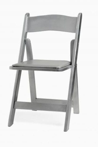 Wood Folding Chair, Silver